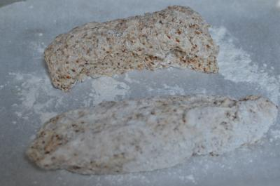 On a floured surface dough was split in half and made into oval, long shapes