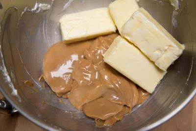 Dulce de leche and butter in a bowl
