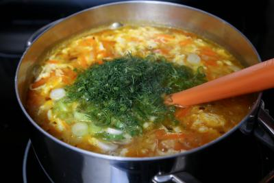 Dill added to cooking soup