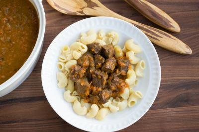 Beef Gravy in a plate with pasta