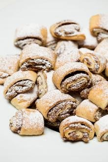 Jam and Nuts Rugelach placed into a large pile on the table