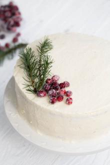 White Chocolate Cranberry Cake on a serving tray