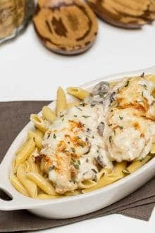 Creamy Chicken and Mushrooms in a boat