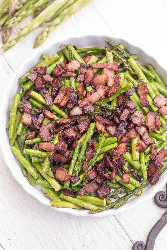 Simple Bacon Asparagus on a serving tray