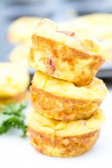 Bacon Egg Bites stacked on top of each other