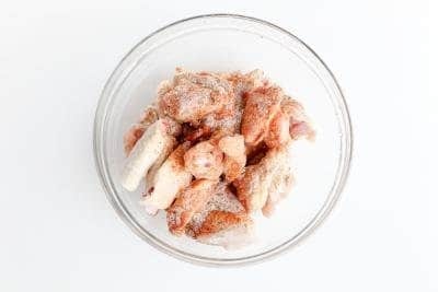 Chicken wings with spices on a bowl