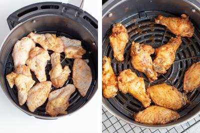 Raw chicken and air fried chicken in a air fryer bowl